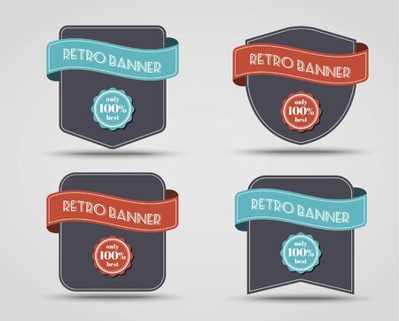 guarantee seal: Set of retro banners (label) with a ribbon of different shapes.
