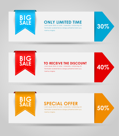 Set of colored horizontal banners for sale in the form of arrows with a ribbon. Elements of infographics for posting information. Vector illustration