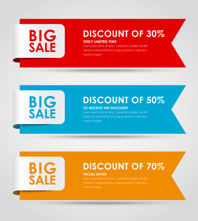 Set of colored horizontal banners for sale with a ribbon. Elements of infographics for posting information. Vector illustration