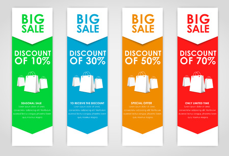 posting: Set of colored vertical banners for sale with arrows. Elements of infographics for posting information. Vector illustration Illustration