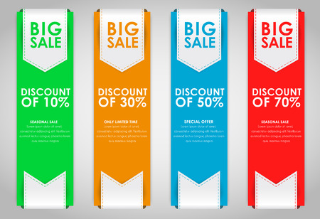 posting: Set of colored vertical banners for sale with a ribbon. Elements of infographics for posting information. Vector illustration