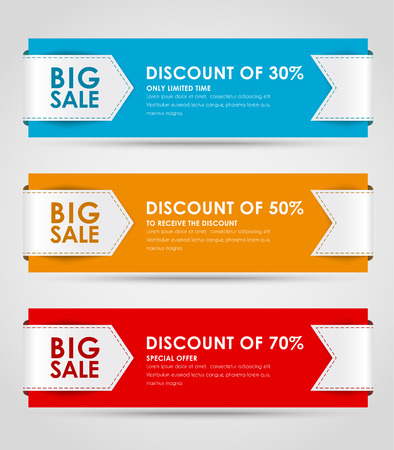 posting: Set of colored horizontal banners for sale with a ribbon. Elements of infographics for posting information. Vector illustration