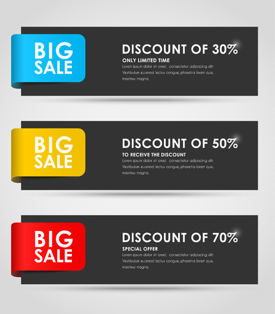 Set of black horizontal banners for sale with colorful ribbons. Elements of infographics for posting information. Vector illustration