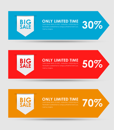 sale tags: Set of colored horizontal banners for sale in the form of arrows with a ribbon. Elements of infographics for posting information. Vector illustration
