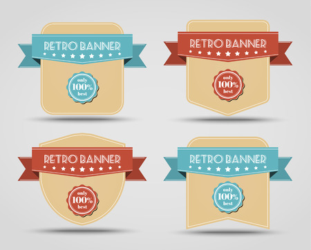 blue banner: Set of retro banners (label) with a ribbon of different shapes.