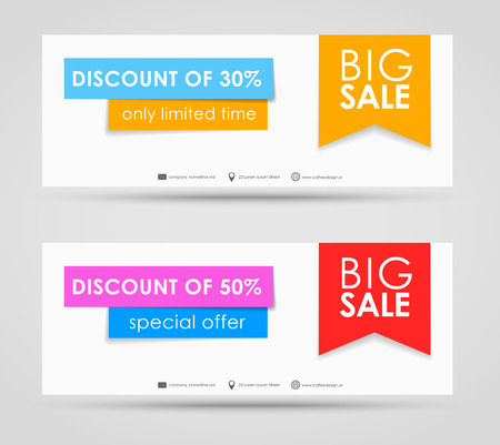 sale tags: Banner design for sale on a colored background with a white ribbon in a modern style
