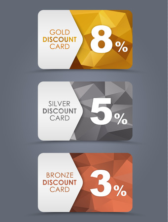 A set of discount cards with gold, silver and bronze geometric polygonal background. 矢量图像