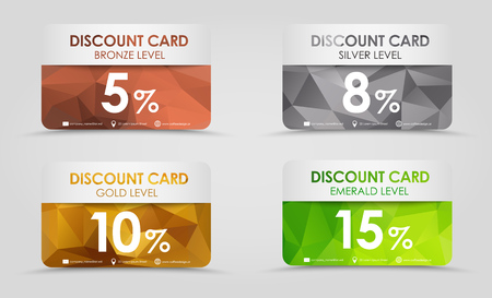 A set of discount cards with gold, silver, emerald and bronze geometric polygonal background.