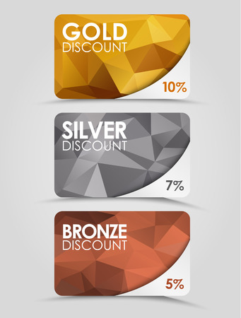 A set of discount cards with gold, silver and bronze geometric polygonal background. Vectores