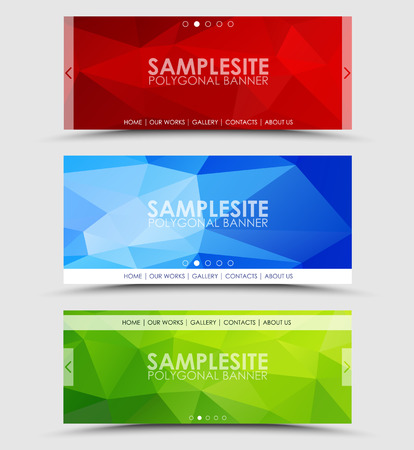 green banner: Set of geometric polygonal banner (header) color of green, blue, red and orange
