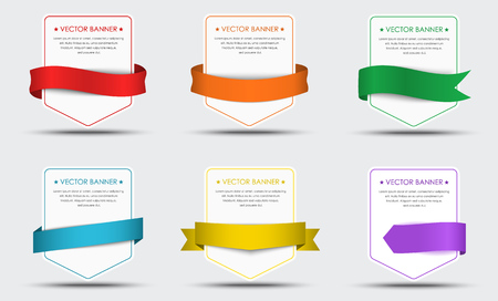 decorative background: Set of white banners with colorful ribbons around them.