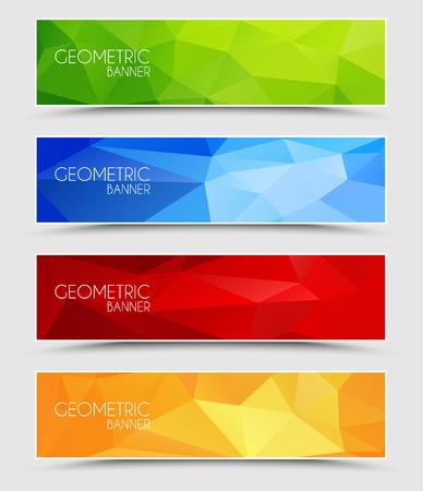 Set of geometric polygonal banner color of green, blue, red and orange Illustration