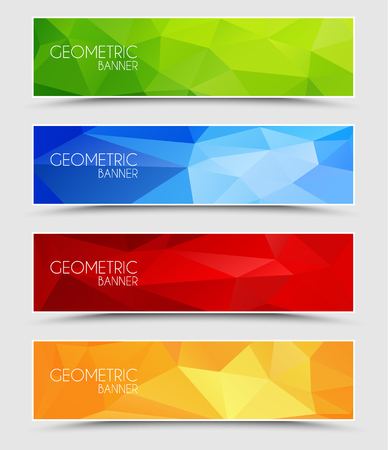 Set of geometric polygonal banner color of green, blue, red and orange 矢量图像