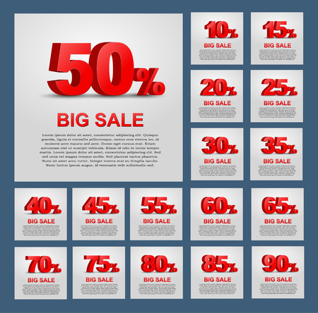 sales: Design a poster for sale. 3D text with percent discount. Vector illustration. Big Set