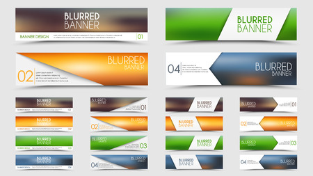 Set of banners with a blurred background with different design elements and colors (ribbons, arrows, lines)