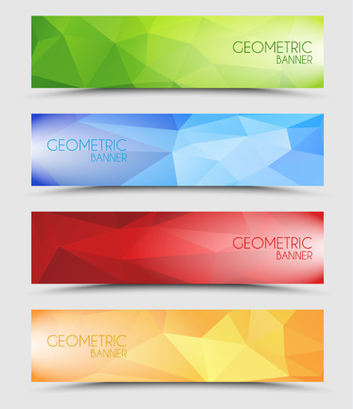 Set of geometric polygonal banner color of green, blue, red and orange 向量圖像