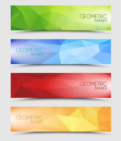 Set van geometrische veelhoekige banner kleur van groen, blauw, rood en oranje
