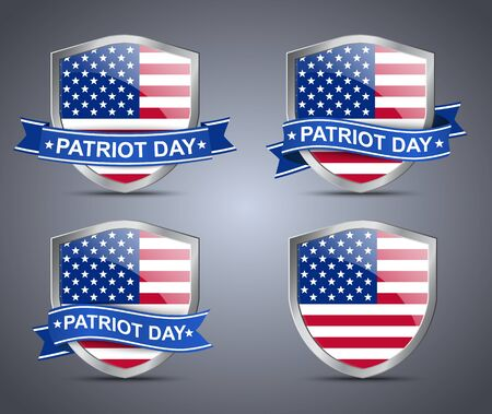 patriots: Shield with flag of USA around which is wrapped a ribbon on the day of the patriot