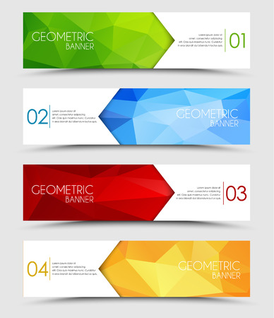 Set of geometric polygonal banner color of green, blue, red and orange Ilustração