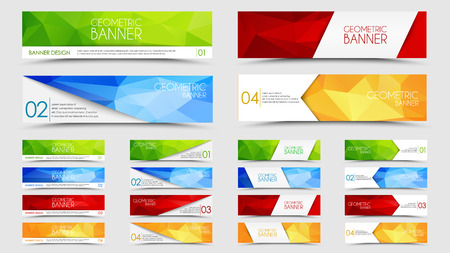 header design: Set of banners with a polygonal geometric background with different design elements and colors (ribbons, arrows, lines)