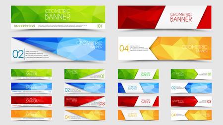 Set van banners met een veelhoekige geometrische achtergrond met verschillende design elementen en kleuren (linten, pijlen, lijnen)
