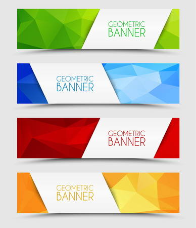 green banner: Set of geometric polygonal banner color of green, blue, red and orange Illustration