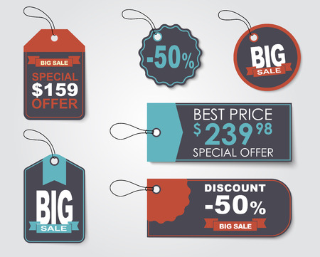 amount: Set of sale tags (labels) for indicating the amount of discounts and prices. Retro style. Vector illustration. Illustration