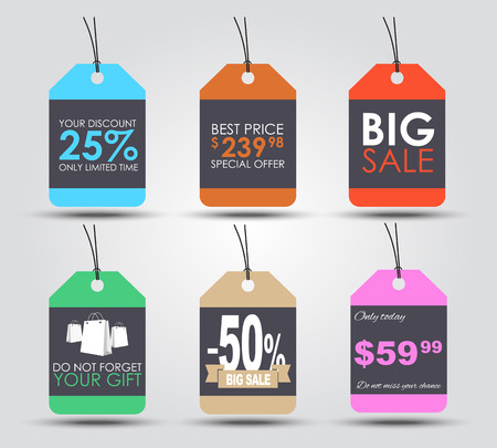 etiqueta: Conjunto de etiquetas de venta (etiquetas) para indicar la cantidad de descuentos y precios. Estilo retro. Ilustración del vector.