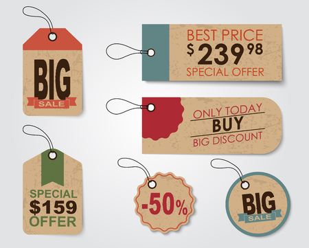 Set of sale tags (labels) for indicating the amount of discounts and prices. Retro style. Vector illustration. 矢量图像