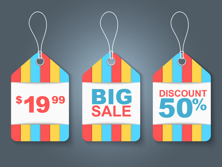 price label: Set of colored tags in stripes. On the label contains price and percentage discount. Vector illustration