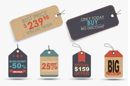 hang tag: Set of retro labels (tags, price tags) of different shapes with different design elements, ribbons, stars and text. Vector illustration Illustration