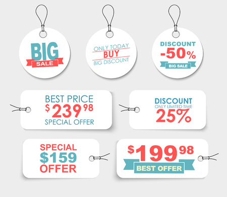 Set of white labels (tags, price tags) of different shapes with different design elements, ribbons, stars and text. Vector illustration Illustration