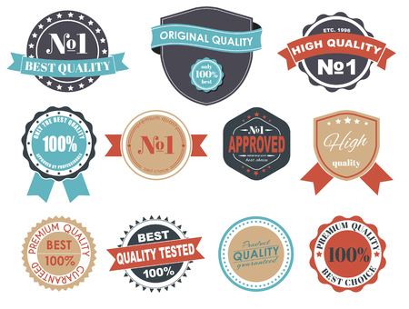guarantee: Design of labels, emblems and logos with a quality in a retro style. The best premium quality. Vector illustration. Set.