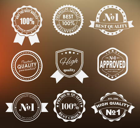 Ontwerp van labels, emblemen en logo's met het keurmerk op een wazige achtergrond. De beste premium kwaliteit. Vector illustratie. Set.