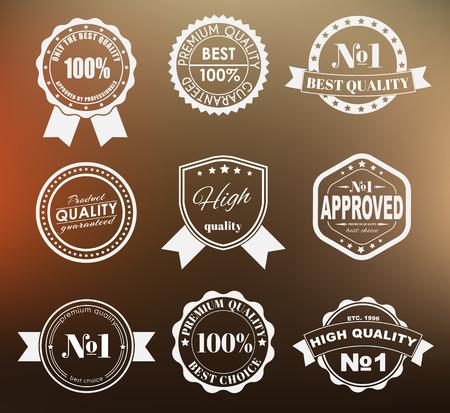 Ontwerp van labels, emblemen en logo's met het keurmerk op een wazige achtergrond. De beste premium kwaliteit. Vector illustratie. Set. Logo