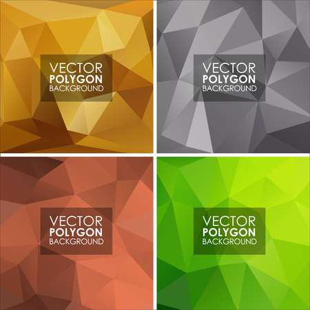 silver backgrounds: Set of vector geometric polygonal backgrounds of gold, silver, bronze and green.
