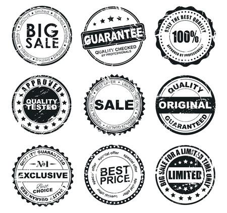 판매 오래 착용 라운드 우표의 디자인. 우표는 품질의 제품, 판매, 할인을 지정합니다. 벡터 일러스트 레이 션. 세트