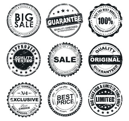 guarantee: The design of the old worn round stamps for sale. Stamps to designate a quality product, sales, discounts. Vector illustration. Set