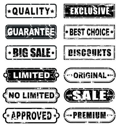 designate: The design of the old shabby rectangular stamps for sale. Stamps to designate a quality product, sales, discounts. Vector illustration. Set Illustration