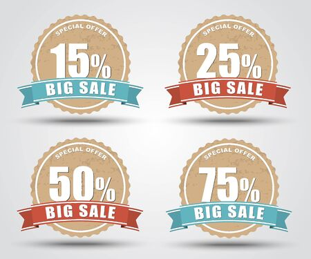 label design: Design of labels, tags, banners for sale in retro style with an indication of the discount percentage discount. Vector illustration. Set.