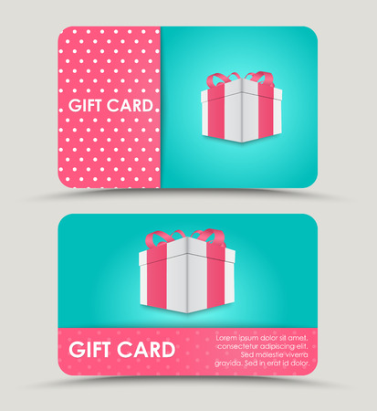 Design a discount card with gift box on a blue background and a pink stripe for text. Vector illustration. Set