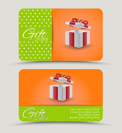 텍스트에 대 한 오렌지와 녹색 줄무늬 배경에 선물 상자 할인 카드를 디자인합니다. 벡터 일러스트 레이 션. 세트