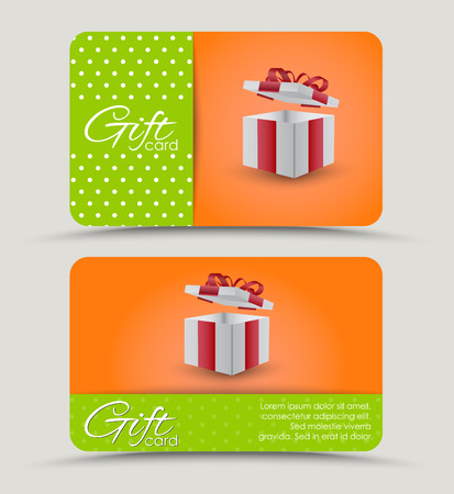 Design a discount card with gift box in orange and green stripes background for your text. Vector illustration. Set
