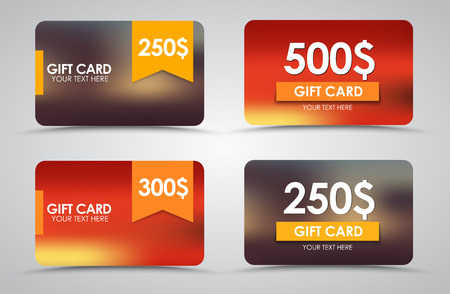 Design gift cards on blurred background with ribbons. Vector illustration. Set.