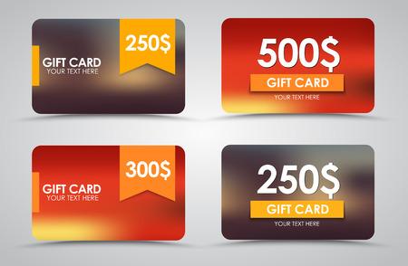 Gift cards op onscherpe achtergrond met linten. Vector illustratie. Set. Stock Illustratie