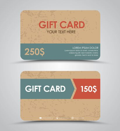 cardboard texture: Design gift cards in a retro style with an old cardboard texture. Vector illustration. Set.
