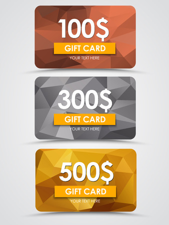 discounts: Design gift cards on a bronze, silver and gold background polygon. Vector illustration. Set.