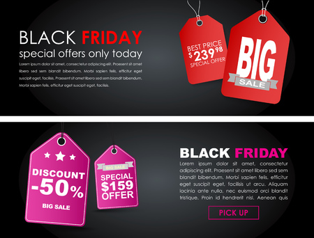 pink and black: Banner design Black Friday to sell on the black background with red and pink tags. Vector illustration. Set.