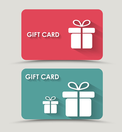 card: Design gift card with a box in a flat style. Vector illustration. Set