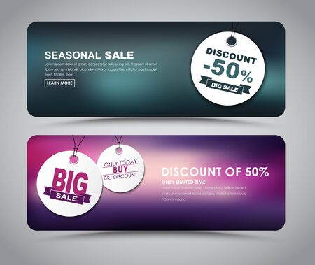 Banner design for sales and discounts with blurred background and white tags. Vector illustration. Set.